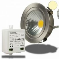 E14 LED Kerze chrom, 5 Watt, klar, warmweiss, dimmbar