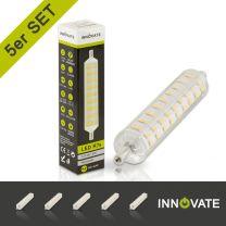 5er R7S LED Stablampe, 8 Watt, 108xSMD, warmweiß, 118mm