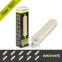 10er R7S LED Stablampe, 8 Watt, 108xSMD, neutralweiß, 118mm