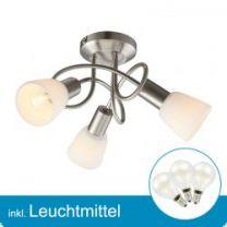 LED Deckenleuchte nickel matt mit Leuchtmittel E14- 2 Watt- warmweiss