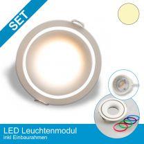 Einbaustrahler-Ultraslim weiß mit 4-Dekor Ringen, mit LED-Modul Dimmbar ohne Dimmer