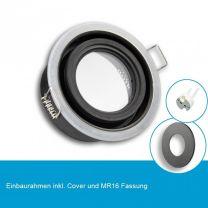 LED Einbaustrahler IP65 für MR16 Leuchtmittel inkl. Cover rund, schwarz