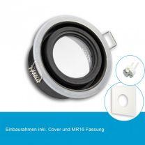 LED Einbaustrahler IP65 für MR16 Leuchtmittel inkl. Cover eckig, weiss