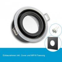LED Einbaustrahler IP65 für MR16 Leuchtmittel inkl. Cover eckig, schwarz
