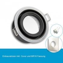 LED Einbaustrahler IP65 für MR16 Leuchtmittel inkl. Cover eckig, nickel