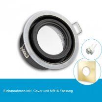 LED Einbaustrahler IP65 für MR16 Leuchtmittel inkl. Cover eckig, gold